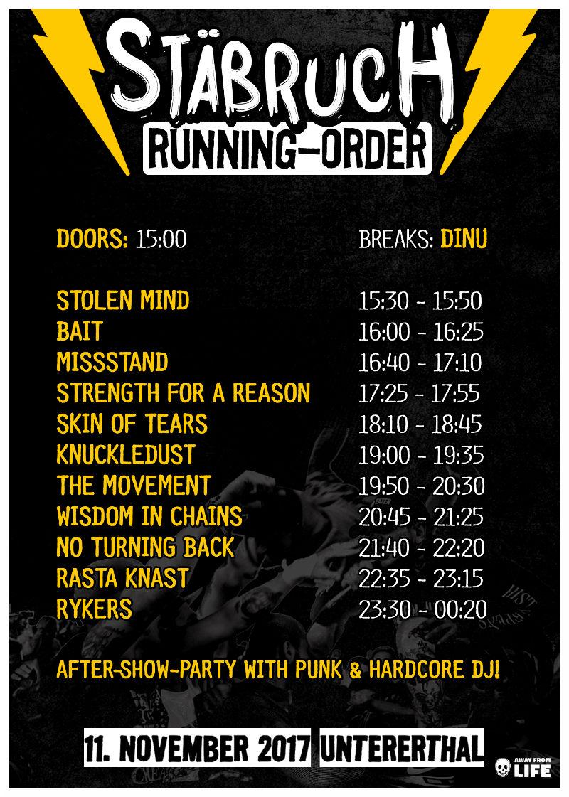 Running-Order fürs Stäbruch Festival 2017
